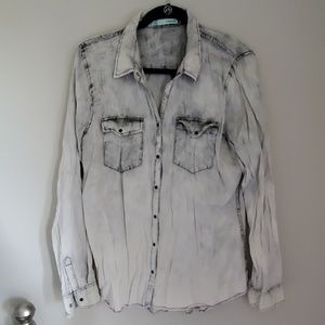 Maurices Acid Wash Button Up